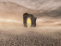 An otherworldly deserted scenery with a gigantic portal Royalty Free Stock Photography