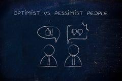 Otimista contra povos, polegares acima ou polegares do pessimista para baixo Imagens de Stock Royalty Free