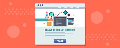 Otimização do Search Engine - página da web de aperfeiçoamento do homem de negócios para a classificação do Search Engine Bandeir ilustração do vetor
