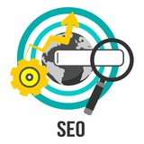 Otimização do Search Engine - SEO - projeto do vetor do conceito do negócio com globo e engrenagem Imagem de Stock Royalty Free