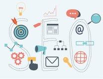Otimização do seo de Infographics Conceito de SEO Ajuste ícones Fotografia de Stock Royalty Free