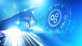 Otimização dos trabalhos da automatização, do negócio e do processo industrial, conceito da programação de software na tela virtu foto de stock