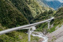 Otira Viaduct, Arthur`s Pass national park, New Zealand. South Island natural landscape background Stock Photos