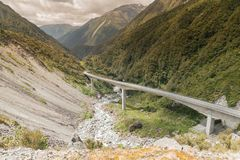 Otira Viaduct pass the way to arthurs alpine. New Zealand natural landscape background Stock Photos