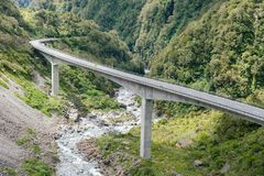Otira Viaduct road curved in to mountain, South Island Royalty Free Stock Photo