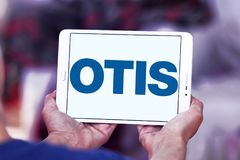 Otis Elevator Company logo. Logo of Otis Elevator Company on samsung tablet. The Otis Elevator Company is an American company that develops, manufactures and royalty free stock images