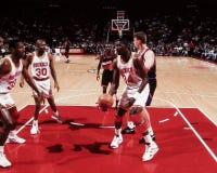 Otis Thorpe, Kenny Smith en Hakeem Olajuwon, Houston Rockets Royalty-vrije Stock Foto's