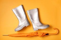 Otoñal con las botas del paraguas y de lluvia Imágenes de archivo libres de regalías