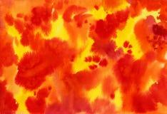 Otoño abstracto del fuego del fondo de la acuarela Imágenes de archivo libres de regalías