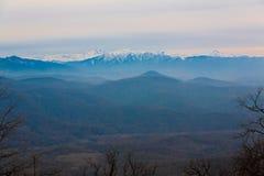 Otoño de la puesta del sol de la montaña imagen de archivo libre de regalías