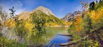 Otoño de oro en el lago Kardyvach Sochi, Rusia Imagen de archivo libre de regalías
