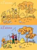 Otoño del paisaje de la familia stock de ilustración