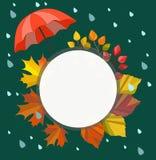 Otoño del vector, plantilla de la caída, marco, frontera, ejemplo para su texto Diseño lluvioso del otoño stock de ilustración