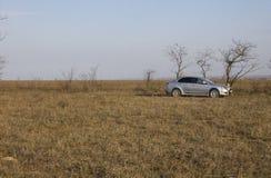 Otoño, el coche en un campo Imágenes de archivo libres de regalías