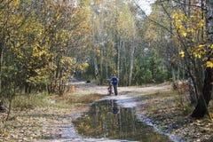 Otoño en el bosque un niño pequeño que coloca con el suyo la bicicleta cerca Fotos de archivo libres de regalías