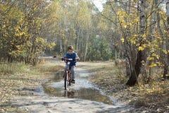 Otoño en el bosque un niño pequeño que monta una bici a través de un charco Foto de archivo libre de regalías