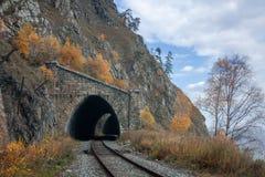 Otoño en el ferrocarril de Circum-Baikal Foto de archivo