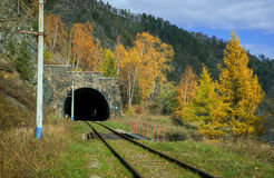 Otoño en el ferrocarril de Circum-Baikal Fotografía de archivo