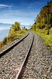 Otoño en el ferrocarril de Circum-Baikal, Siberia del este, Rusia Imágenes de archivo libres de regalías