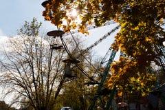 Otoño en el parque con árboles coloridos y un whe de giro de los ferris imagenes de archivo