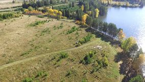 Otoño en la opinión superior del lago del quadcopter almacen de video