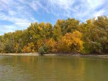 Otoño en la orilla del río Fotos de archivo libres de regalías