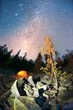 Otoño en las montañas de Gorgan en la noche Imagen de archivo