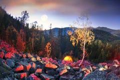 Otoño en las montañas de Gorgan en la noche Fotografía de archivo libre de regalías