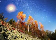 Otoño en las montañas de Gorgan en la noche Fotos de archivo libres de regalías