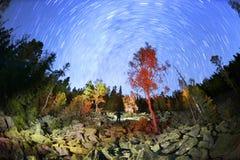 Otoño en las montañas de Gorgan en la noche Fotos de archivo