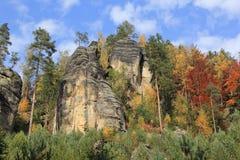 Otoño en las montañas Teplice Foto de archivo libre de regalías