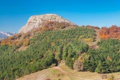 Otoño en un claro del hombre, pasto Demerdzhi de la montaña Fotografía de archivo libre de regalías