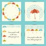 Otoño fijado con el paraguas y la lluvia Imágenes de archivo libres de regalías