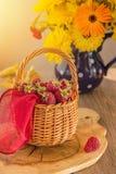 Otoño Frambuesa en una cesta y un ramo de flores amarillas Fotos de archivo libres de regalías
