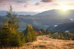 Otoño hermoso en montañas en el tiempo de la puesta del sol Árboles, picos, clo Fotografía de archivo libre de regalías