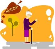 Otoño la mujer mayor alimenta palomas stock de ilustración