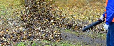 Otoño leaves4 de la limpieza El trabajador en un uniforme despeja una trayectoria u Foto de archivo