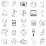 Otoño, sistema del icono de la escuela Esquema, línea, estilo fino Fondo blanco Ilustración del vector Imagen de archivo libre de regalías