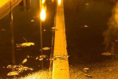 Otoño Un charco en el pavimento con una reflexión de linternas por la tarde Otoño imagen de archivo