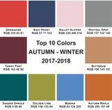 Otoño-Winte 2017 - 2018 de los colores del top 10 Foto de archivo libre de regalías