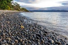 Otoczak plaża przy geografii zatoki Sandy zatoką Hobart, Tasmania Fotografia Stock