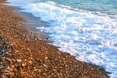 Otoczaka plażowy zakończenie, Grecja zdjęcia royalty free