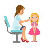 Otolaryngologist Checking Hearing Of A Little Girl, Part Of Kids Taking Health Exam Series Of Illustrations. Child On Appointment With A Doctor Going Through Stock Photography
