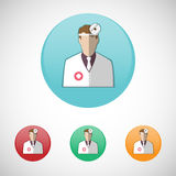 Otolaryngologist. Doctor in white coat with frontal reflector. Healthcare. Digital background medical vector icon set isolated on colorful round buttons Stock Images