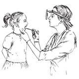 Otolaryngologist egzamininuje gardła tonsils dziewczyna, ręka rysujący doodle, nakreślenie ilustracja wektor