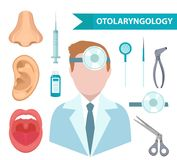 .Otolaryngology icon set, flat style. Doctor treating ear, throat, nose. ENT collection of design elements, isolated on Stock Photo