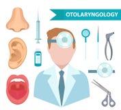 Otolaryngologysymbolsuppsättning, lägenhetstil Doktor som behandlar örat, hals, näsa ENT samling av designbeståndsdelar som isole vektor illustrationer