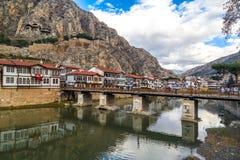 Otomanów domy w Amasya Zdjęcie Stock