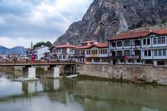 Otomanów domy w Amasya Zdjęcia Stock