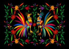 Free Otomi Style, Ethnic Mexican Tapestry With Embroidery Floral And Roosters Jungle Animals Hand-made. Naive Print Folk Decor Stock Photography - 163780372